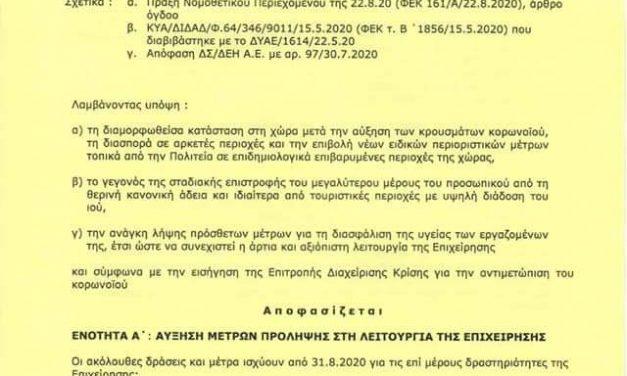 Τα νέα μέτρα περιορισμού της διασποράς του κοροναϊού.